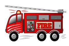 Brandmotor met Ladder en Sirene De vrachtwagenillustratie van de brand Stock Afbeeldingen