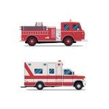 Brandmotor, ziekenwagen, Firetruck, vector Royalty-vrije Stock Afbeelding