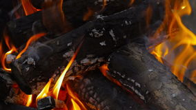 Brandnärbild, brinnande vedträ lager videofilmer