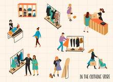 brandnames som clothing copyrighten inget objektlager Vectpr illustration med tecken stock illustrationer