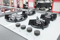 Brandnew benzynowej kuchenki panel przy urządzenie sklepem fotografia stock