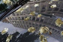 Brandnew samochód z odbiciem wysokiego budynku i ptaka zrzut Fotografia Stock