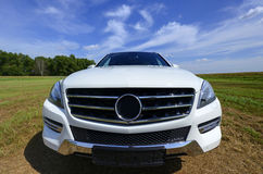 Brandnew white Mercedes Benz ML, model 2013 stock image