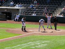 Brandon Allen Touches Home Plate Fotografia Stock