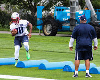 Brandon Bolden runs drills at training camp. Royalty Free Stock Photography