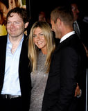 Brandon Camp, Aaron Eckhart e Jennifer Aniston immagine stock