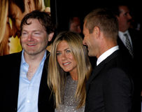 Brandon Camp, Aaron Eckhart och Jennifer Aniston Arkivbild