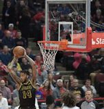 Brandon Ingram Hauls in the Rebound. Brandon Ingram of the Los Angeles Lakers professional basketball team pulls down the rebound against the Chicago Bulls on Royalty Free Stock Photos