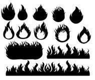Brandpictogrammen geplaatst Zwart ontwerp Stock Foto