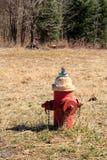 Brandpost i ett fält Royaltyfri Fotografi