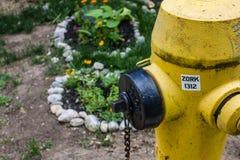Brandpost nära en trädgård Royaltyfri Bild