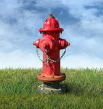 Brandpost på en gräsmatta Arkivbilder