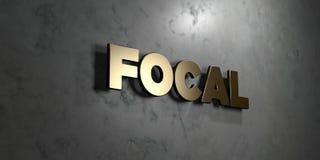 Brandpunts - het Gouden teken zette op glanzende marmeren muur op - 3D teruggegeven royalty vrije voorraadillustratie royalty-vrije illustratie
