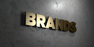 Brands - Gold sign mounted on glossy marble wall - 3D rendered royalty free stock illustration. This image can be used for an online website banner ad or a Stock Illustration