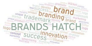 Brands Hatch word cloud. Wordcloud made with text only royalty free illustration