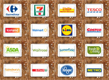 Brands and logos of top famous supermarket chains and retail stock image