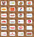 Brands and logos of top food franchises Stock Images