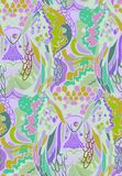 Abstract pattern with elements of feathers of birds and fish royalty free illustration
