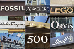 Brands of Luxury Shops on Fifth Avenue Stock Images