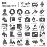 Brandschutz Glyph-Ikonensatz, Notsymbole Sammlung, Vektorskizzen, Logoillustrationen, Dringlichkeitszeichen fest lizenzfreie abbildung