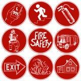 Brandschutz und Durchschnitte der Rettung Ikonen eingestellt Lizenzfreies Stockfoto