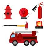 Brandschutzikonen eingestellt lokalisiert auf weißem Hintergrund Feuerlöscher, Hydrant, Feuermelder, Axt und Löschfahrzeug Lizenzfreies Stockbild