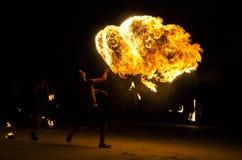 Brandshow på Koh Samet, Thailand. Royaltyfri Foto