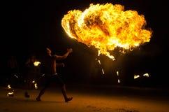 Brandshow på Koh Samet, Thailand. Arkivbild