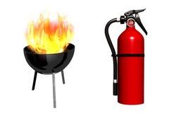 Brandsläckare för hemmet, trädgård framförande 3d stock illustrationer