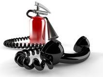 Brandsläckare med telefonluren Arkivfoto