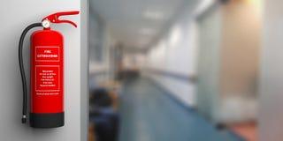 Brandsläckare på en vägg, bakgrund för suddighetssjukhuskorridor illustration 3d Arkivbild