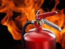 Brandsläckare på flammabakgrund fotografering för bildbyråer