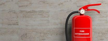 Brandsläckare som isoleras på bakgrund för stenvägg illustration 3d Arkivbild