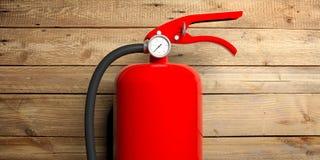 Brandsläckare som isoleras på träbakgrund illustration 3d Royaltyfri Fotografi