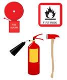 Brandsläckare, varningsklocka, tecken för brandrisk och yxa royaltyfri illustrationer