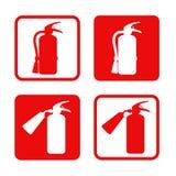 Brandsläckareklistermärkesäkerhet, utrustning, nödläge också vektor för coreldrawillustration Arkivfoto