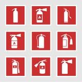 Brandsläckaresymboler och tecken, vektorillustration vektor illustrationer
