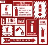 Brandsläckaretecken royaltyfri illustrationer