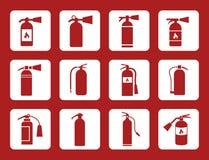 Brandsläckaretecken- och vektorsymboler Royaltyfri Foto
