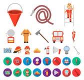Brandstationtecknad film, plana symboler i den fastställda samlingen för design Brandmän och rengöringsduk för materiel för utrus stock illustrationer