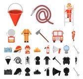 Brandstationtecknad film, svarta symboler i den fastställda samlingen för design Brandmän och rengöringsduk för materiel för utru stock illustrationer