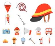 Brandstationtecknad filmsymboler i uppsättningsamlingen för design Brandmän och rengöringsduk för materiel för utrustningvektorsy vektor illustrationer