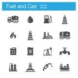 Brandstof en gaz vlak grijze pictogrammenreeks van 16 vector illustratie