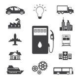 Brandstof, Machts en energie geplaatste pictogrammen Stock Afbeelding
