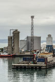 Brandstoftanks en silo's bij Napier-Haven, Nieuw Zeeland Stock Foto
