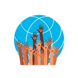 Brandsymbol Händer med jord, folk av världen som rymmer jordklotet Royaltyfri Foto
