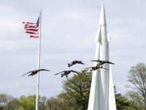 Brandt& x27 ; atterrissage de s avec le missile à l'arrière-plan en Sandy Hook, New Jersey Photographie stock libre de droits