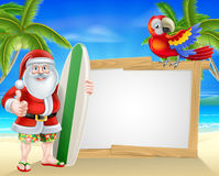Brandungs-Brett Santa Tropical Beach Sign Lizenzfreies Stockbild