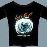 Brandungs-Clubt-shirt Schablonendesign stock abbildung