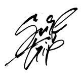 Brandungsreise Moderne Kalligraphie-Handbeschriftung für Siebdruck-Druck Lizenzfreies Stockfoto
